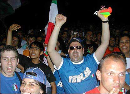 Italy fans celebrate victory