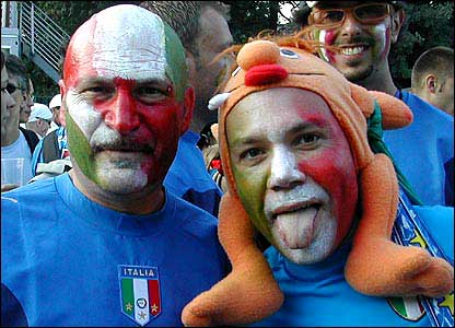 Face-painted Italy supporters