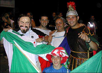 Italy fans dressed as Roman soldiers