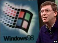 Bill Gates and Windows 98 logo, AP