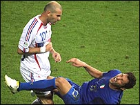 Zinedine Zidane head-butts Marco Materazzi during the World Cup final