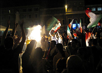 Italy fans spill out into the streets to upstage a festival in Spoleto, Umbria