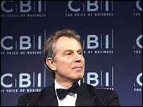 Tony Blair at CBI dinner in May