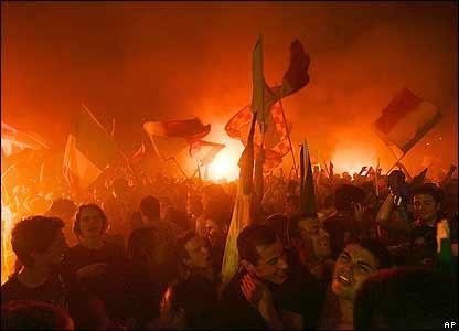 Italian fans celebrate in Rome's Circus Maximus
