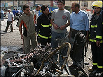 Damage from bomb attack near Sadr City, Baghdad, Monday