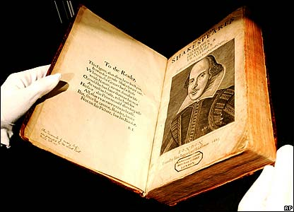 First edition of William Shakespeare's plays