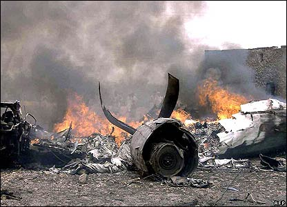 Plane burns at crash site