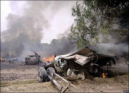 Smoke from the crash site could be seen from miles around