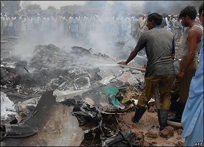 Firemen at crash site