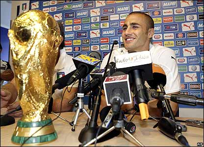 Italy's captain Fabio Cannavaro holds a press conference