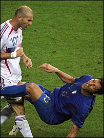 Zinedine Zidane headbutts Marco Materazzi to the ground