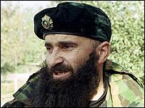 Chechen warlord Shamil Basayev (1999 file pic)