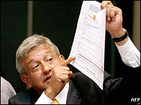 Andres Manuel Lopez Obrador, of Democratic Revolutionary Party (PRD), points supposed to irregularities on electoral results charts