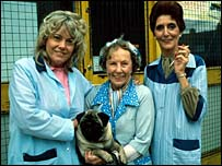 Wendy Richard as Pauline Fowler, Gretchen Franklin as Ethel Skinner and June Brown as Dot Cotton in EastEnders in 1985