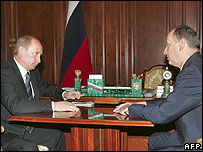 Russian President Vladimir Putin (left) with FSB security service head Nikolai Patrushev