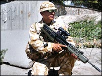 A British soldier in Kabul earlier this year