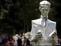 A newly erected monument of scientist Nikola Tesla