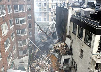 Rear view of collapsed building