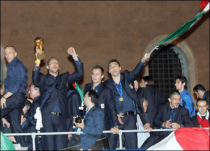 Marco Materazzi and his team-mates celebrate