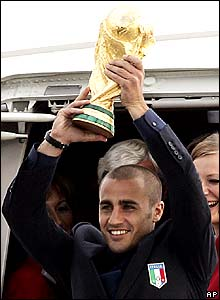 Captain Fabio Cannavaro holding World Cup