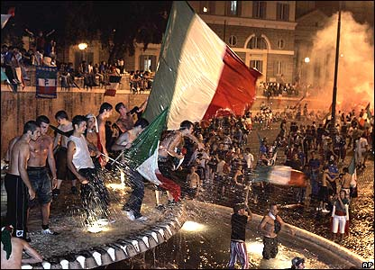 Italians dancing in fountain