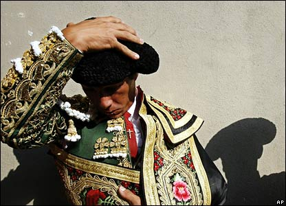 A Spanish bullfighter in traditional costume