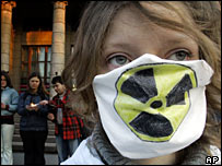 Greenpeace activist rallies against nuclear power in Russia on the anniversary of Chernobyl