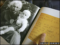 A book on Albert Einstein is displayed at the Hebrew University in Jerusalem