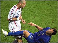Zinedine Zidane headbutts Marco Materazzi during the World Cup final