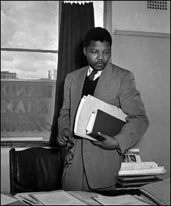 Nelson Mandela in his office