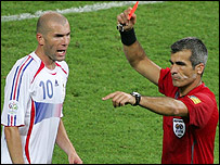 France captain Zinedine Zidane is sent off by Horacio Elizondo