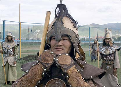 Mongol soldiers struggles with his Genghis Khan-era costume