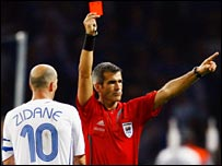 Zinedine Zidane was shown the red card during the World Cup final