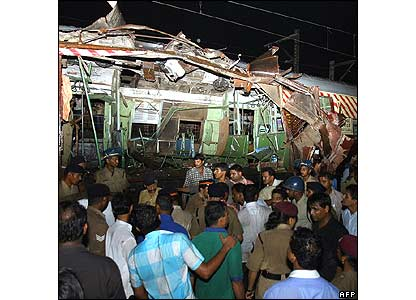 One of the train carriages mangled by an explosion in Mumbai (Bombay)
