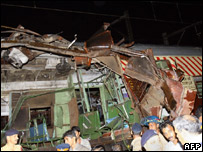 Train wreckage from Mumbai