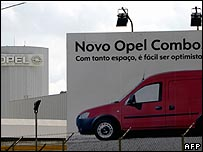 A billboard outside the Opel factory in Azambuja