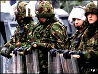 Soldiers in riot gear in Belfast