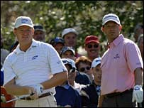 South African Ernie Els and fellow countryman Retief Goosen at  the 2006 Masters at Augusta National Golf Club