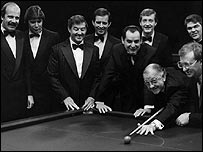 John Spencer (fourth from left) with other snooker players promoting Pot Black