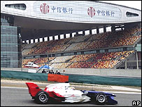 Nicolas Lapierre, from the A1 France team, takes a corner at the Shanghai International Circuit