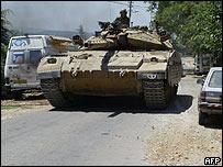 Tanque israelí en frontera con Líbano