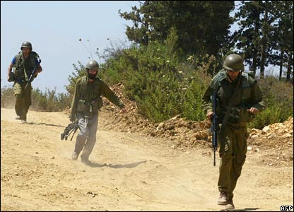 Israeli soldiers near the border with Lebanon