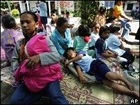 Residents in an evacuation centre near Yogyakarta