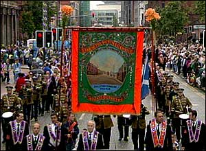 Orange march in Belfast city centre