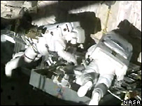 Mike Fossum and Piers Sellers in Discovery's cargo bay   Image: Nasa