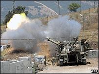 Cañón israelí en la frontera con El Líbano