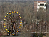 A fairground ride in the abandoned town of Pripyat (Image: BBC)