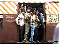 First class train carriage in Mumbai, the day after the blasts