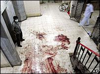 Blood on the floor of a Mumbai hospital