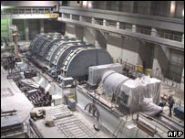 Preliminary installation of a turbo generator at Iran's Bushehr nuclear power plant. File photo